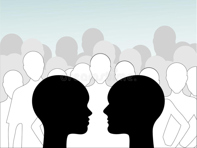 Male and female profile crowd royalty free illustration