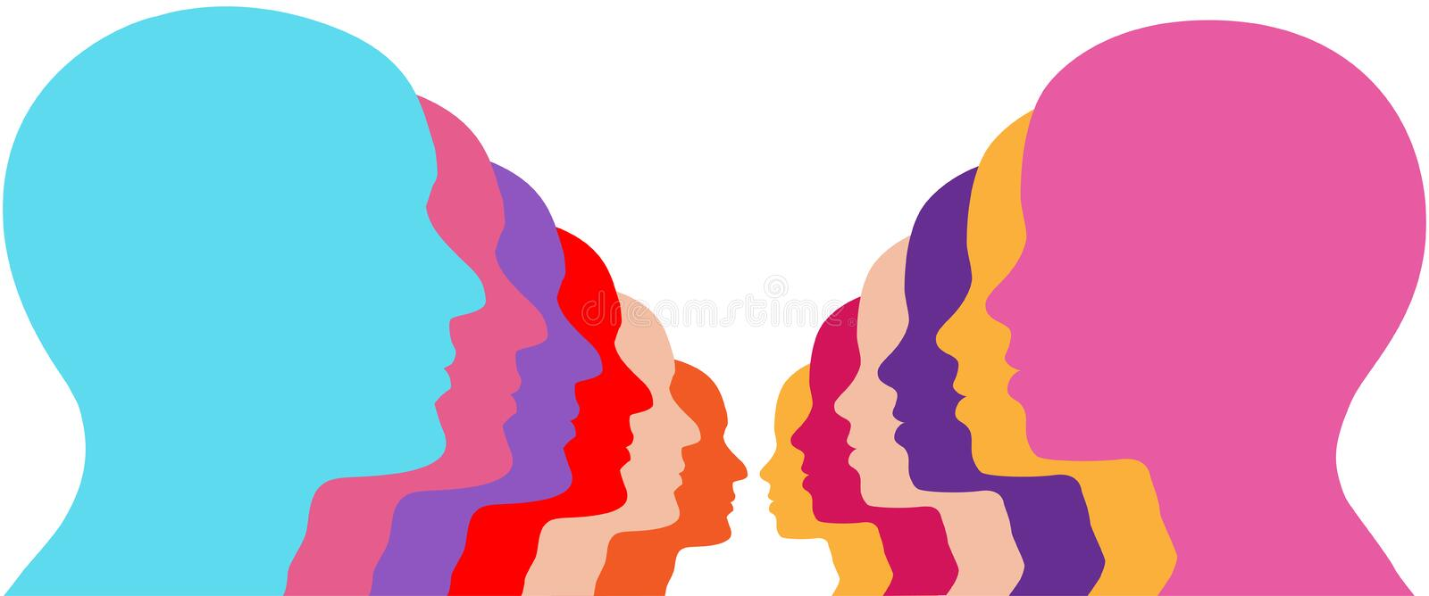 Male Female row people face couple lines vector illustration