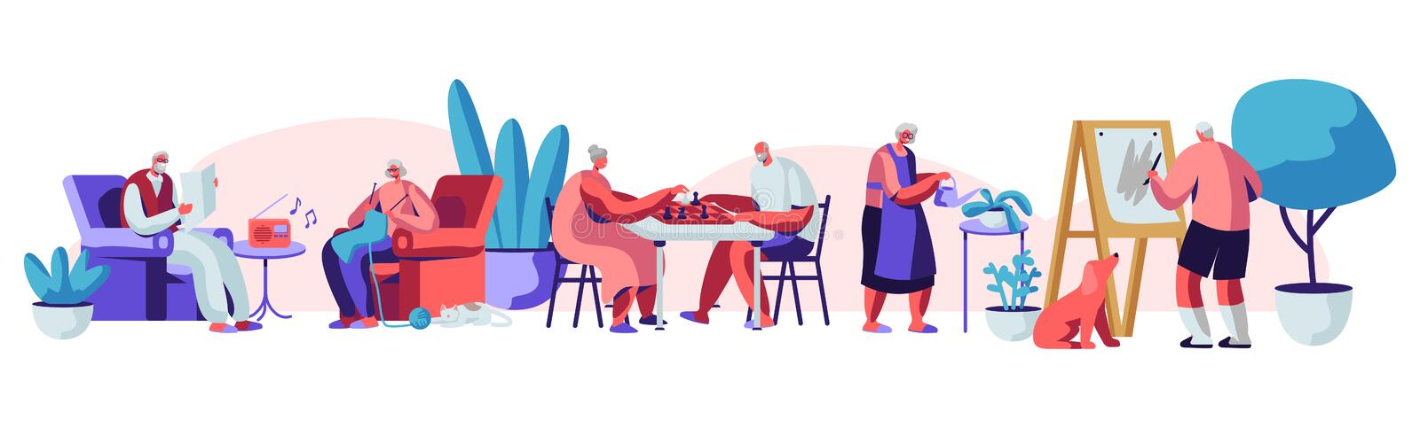 Male and Female Senior People Spending Time in Nursing Home Engaging Hobby Listening Music, Painting, Playing Chess, Knitting. Elderly Characters Having stock illustration