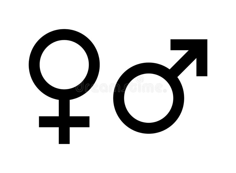 Male and female sex symbol. Simple vector filled flat in Male and female sex symbols icon solid pictogram isolated on white background stock illustration