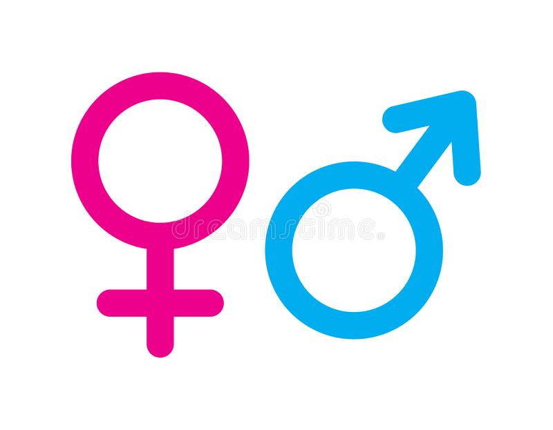 Male and female sex symbol. Simple vector filled flat in Male and female sex symbols pink and blue icon solid pictogram isolated on white background vector illustration