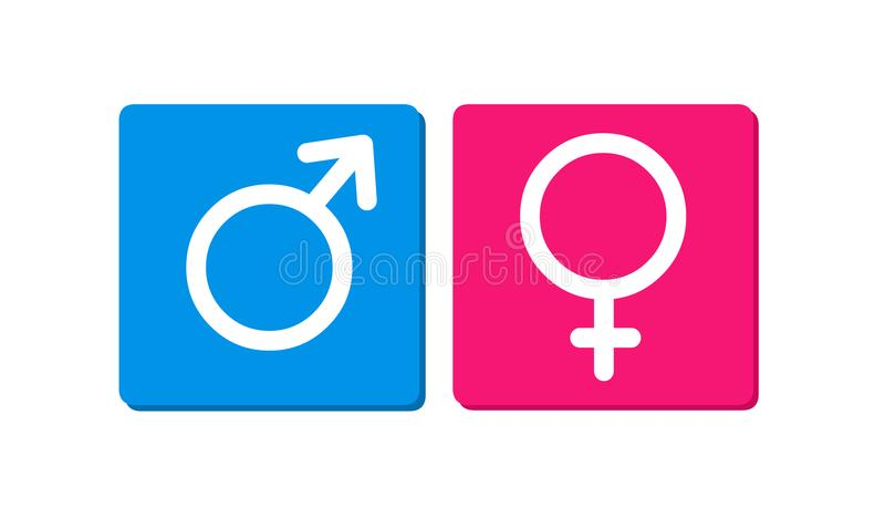 Male and female sex symbols.Gender symbol icons. royalty free illustration