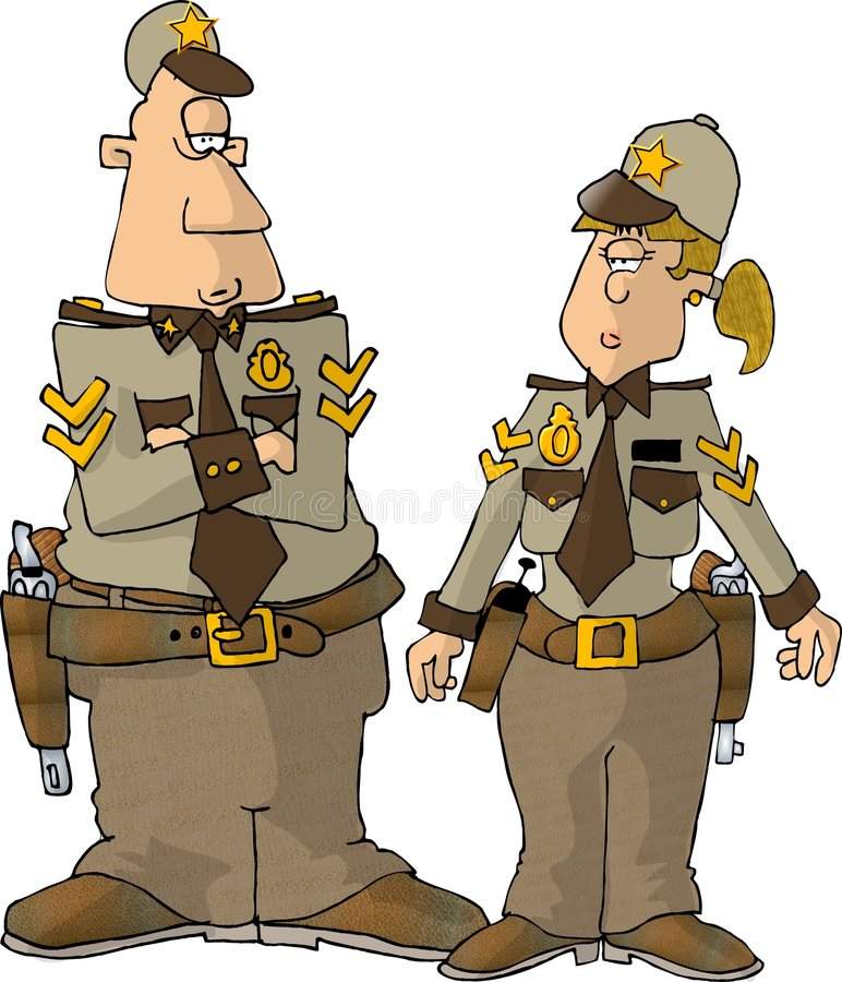 Male & Female Sheriff vector illustration