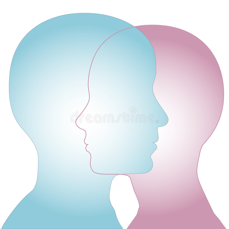 Male & Female Silhouette Profile Faces Merge vector illustration