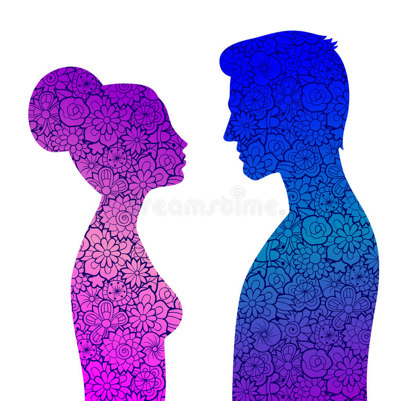 Male and female silhouettes. Color. Male and female silhouettes with floral ornament inside them in purple and blue colors. Man and woman looking to each other stock illustration