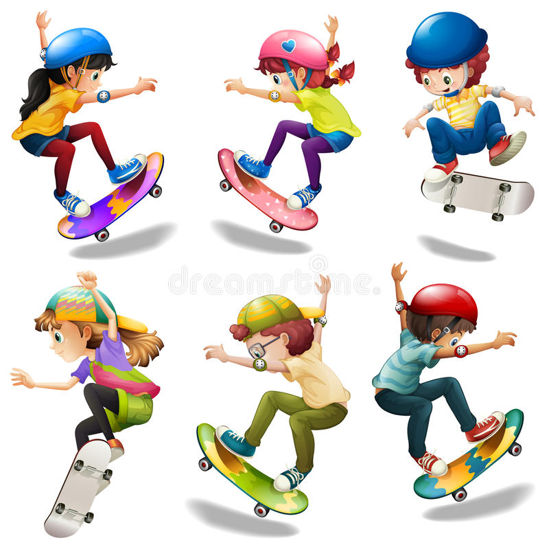 Male and female skaters vector illustration