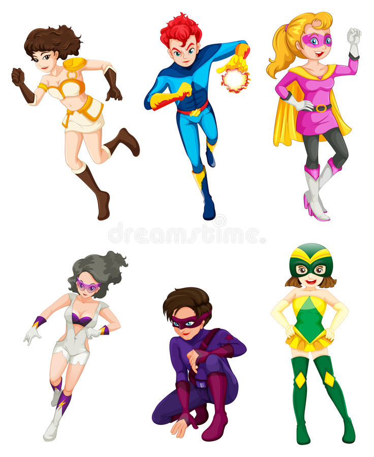 A male and female superheroes. Illustration of a male and female superheroes on a white background royalty free illustration