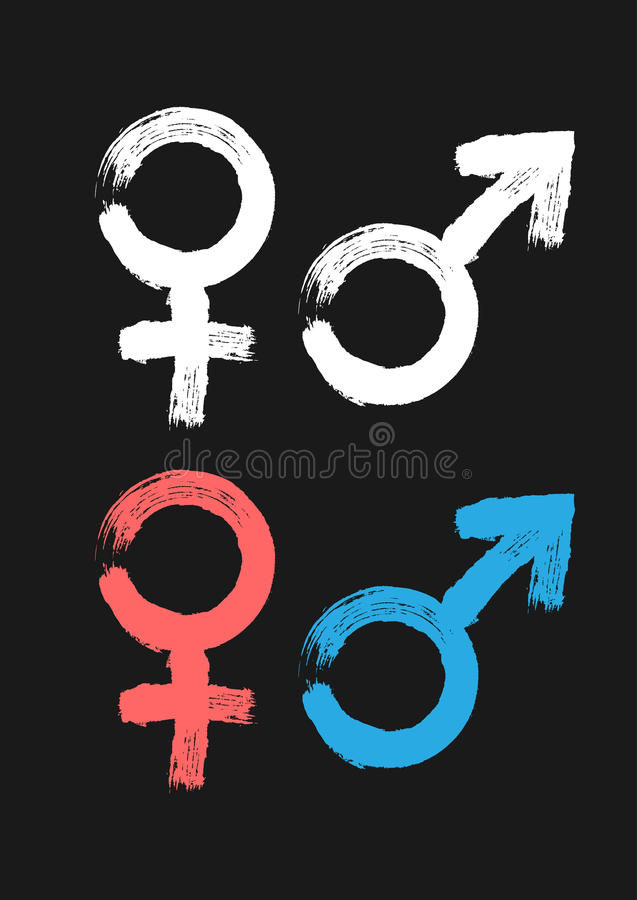 Male and female symbol. Painted by hand rough brush. White, pink, blue icons isolated on black background. Grunge. Vector illustration royalty free illustration