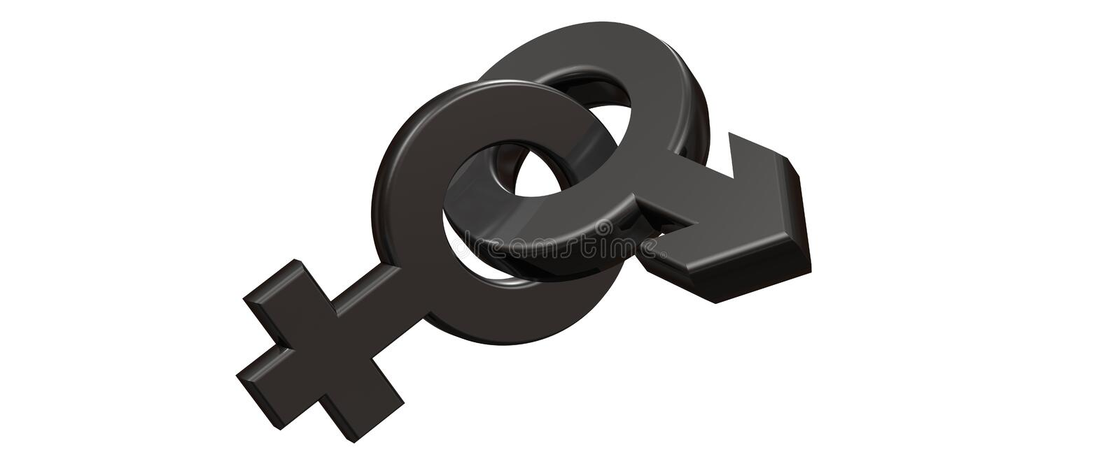 Male And Female Symbols 3d Rendering Stock Illustration