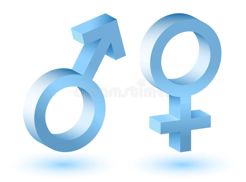 Male and female symbols 3d with shadow. royalty free stock photos