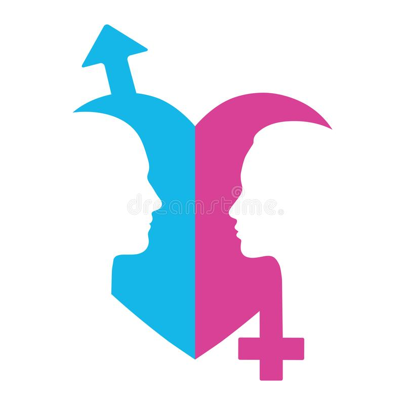 Illustration Of Gender Symbols With Heads Of Man And Woman Stock