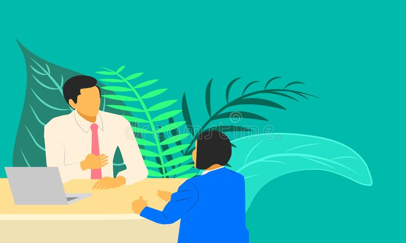 Male and female talking something about business marketing job interview. vector illustration esp10 royalty free illustration