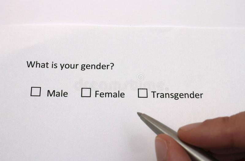 Male, female or transgender? Gender identity in survey interview questionnaire stock image
