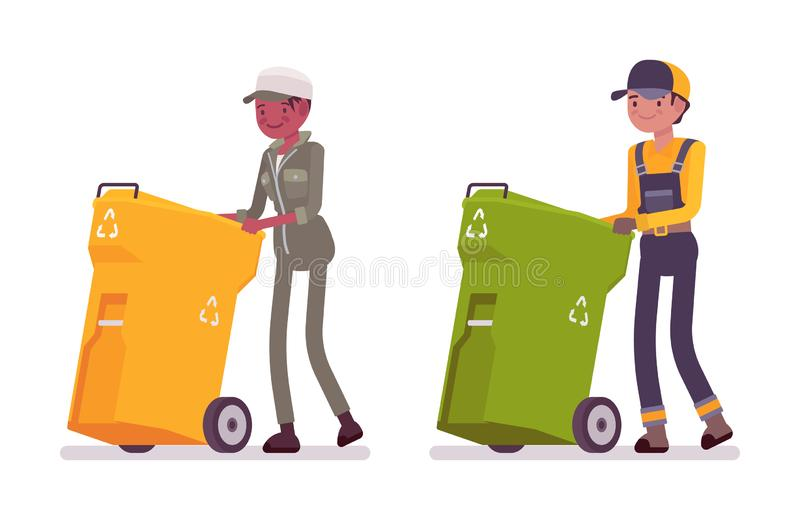 Male and female waste collectors in uniform pushing trash bins stock illustration