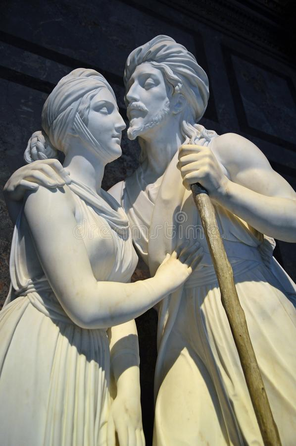 Male and female white statue at Kunsthistorisches Museum royalty free stock images