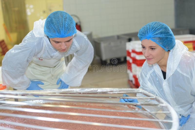 Male and female workers wearing white coats in factory stock photo