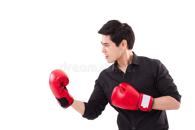 Male fighter, man boxer punching. Male fighter, businessman boxer punching royalty free stock photos