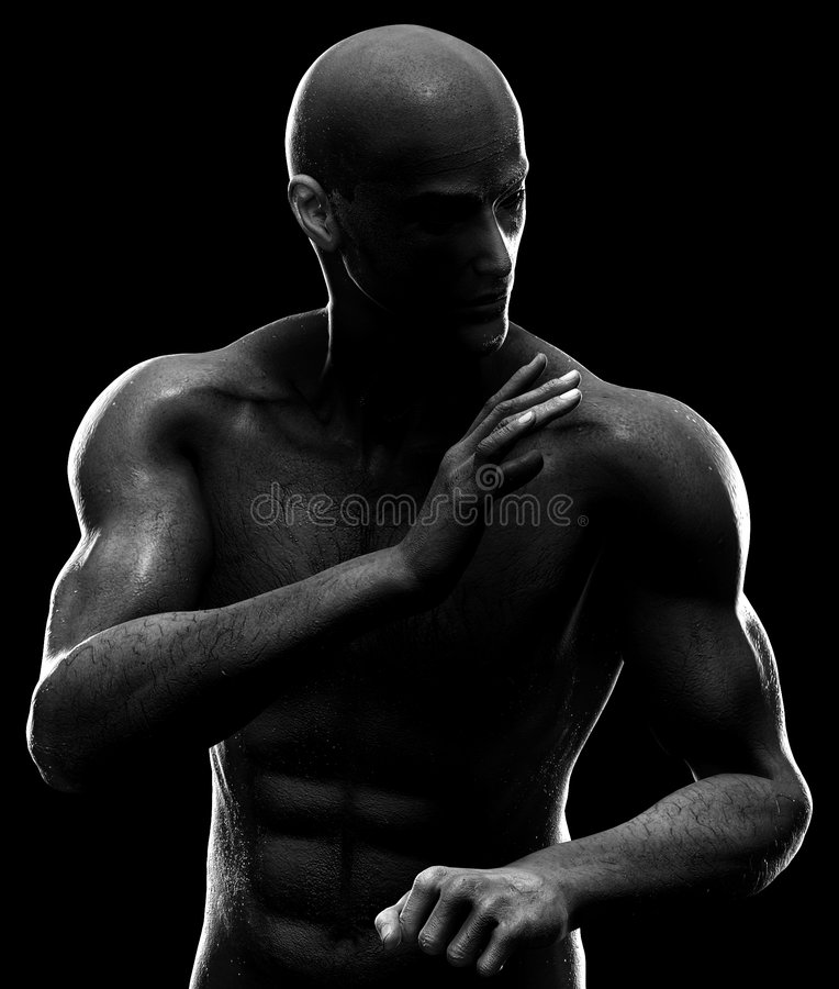 Male figure in fighting pose. High contrast lighting on a male figure in fighting or kung fu pose. Illustration royalty free stock photography