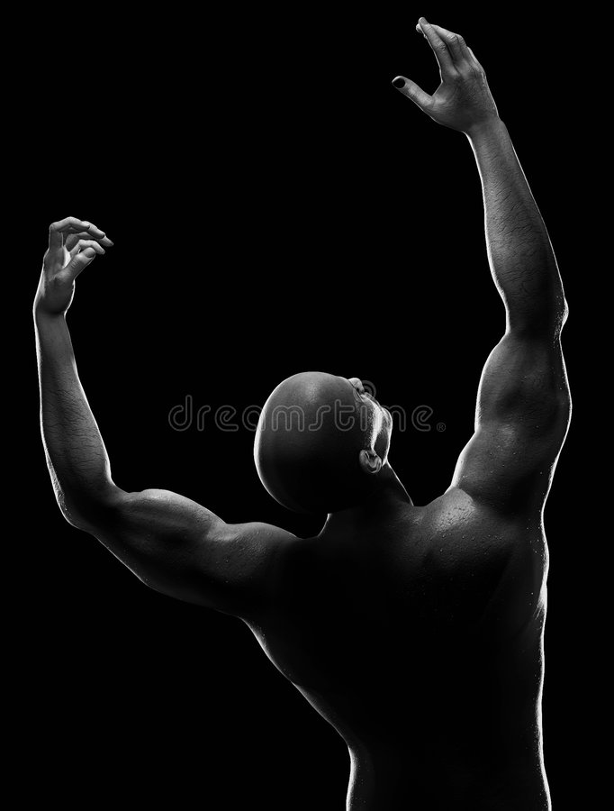 Male figure reaching up. High contrast lighting on male figure. Black and white illustration royalty free stock photo