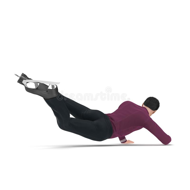 Male Figure Skater Falling Down isolated on a white. 3D illustration vector illustration