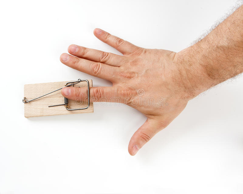 Male finger caught by mouse trap