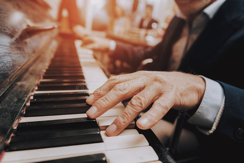 Piano. Happy Holidays.Happy Together.Nursing Home. royalty free stock images