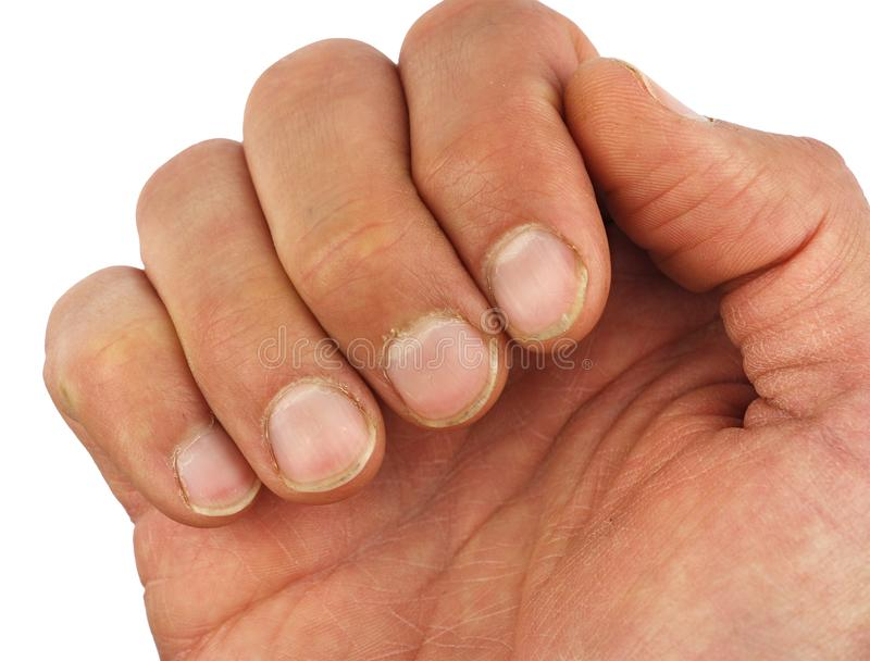 Male fingers with dirt under the nails, closeup macro, isolated royalty free stock images