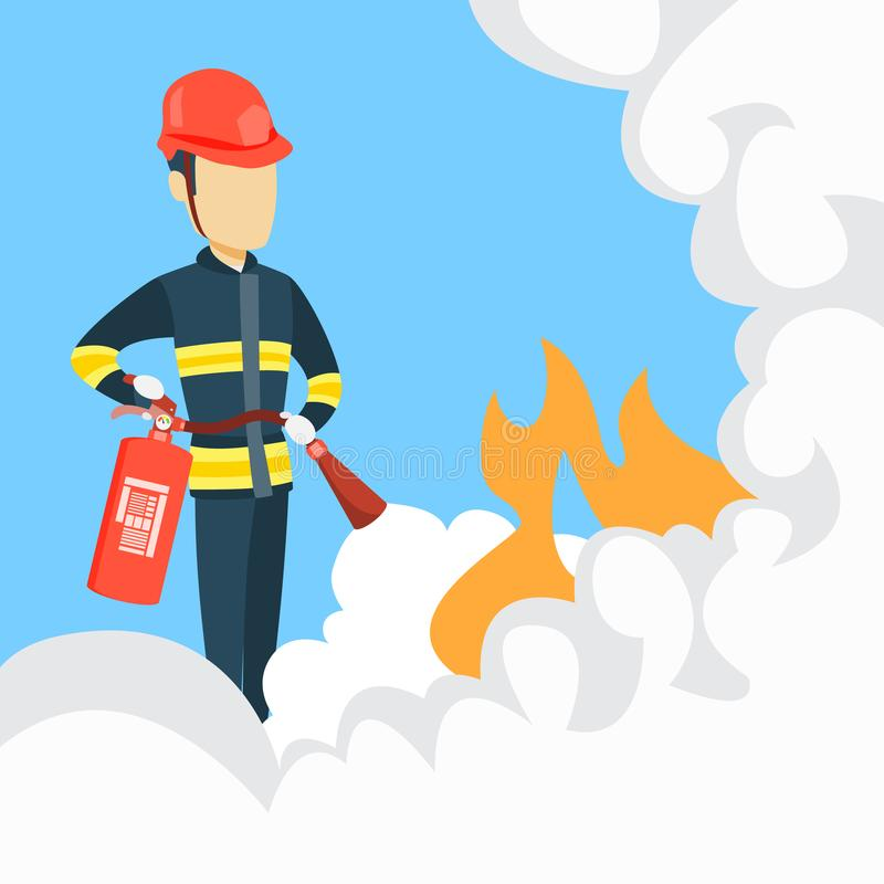 Male firefighter with extinguisher. vector illustration
