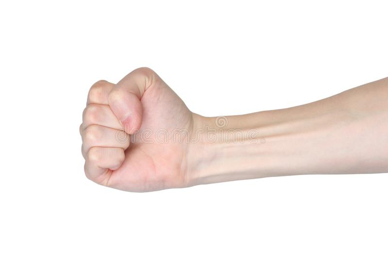 Male fist hand show power of person. Isolated on white background royalty free stock image