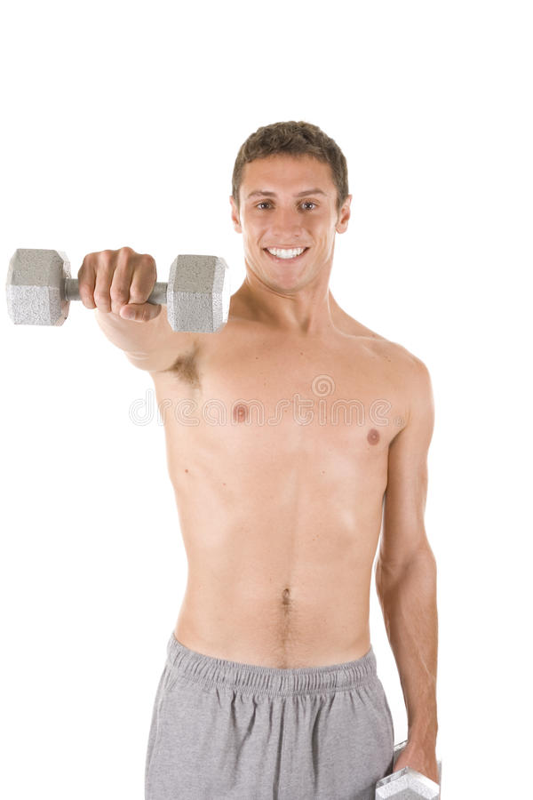 Male Fitness. Man on a white background holding dumbbells royalty free stock photo
