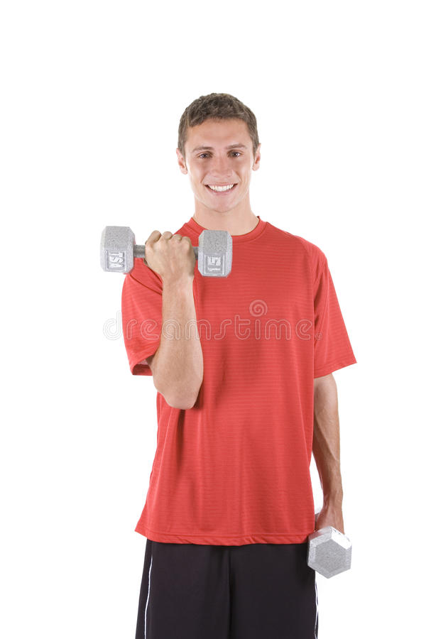 Male Fitness. Man on a white background holding dumbbells stock images