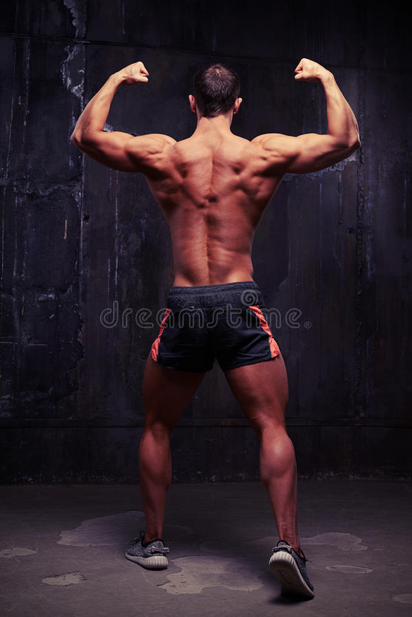 Male fitness model standing with his back to the camera in bodybuilder pose royalty free stock images