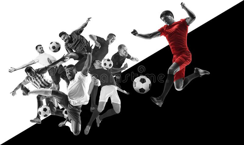 Male football players in action, creative black and white collage stock photos