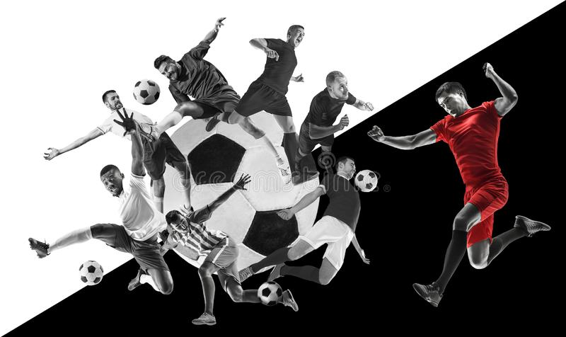 Male football players in action, creative black and white collage royalty free stock images