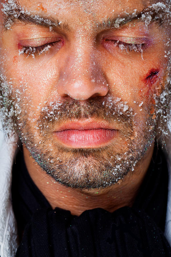 Male frozen face stock photography