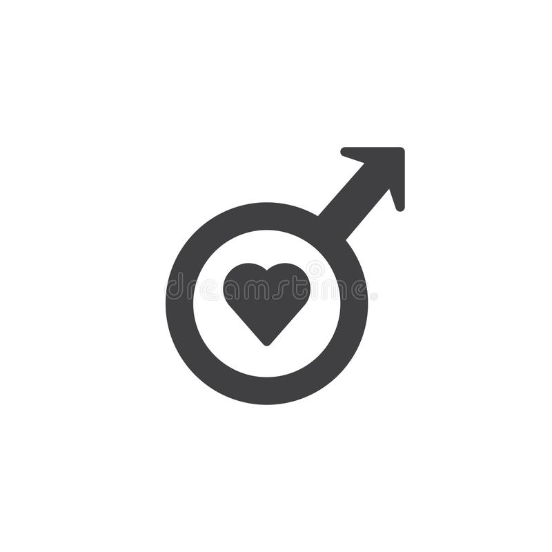 Male Gender Symbol With Heart Icon Vector Stock Vector