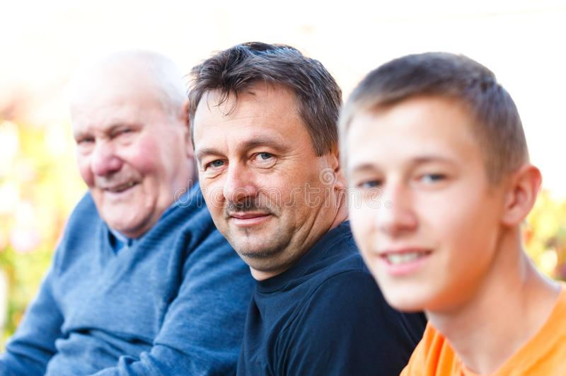Male Generations. Portrait of male generations in the family stock images