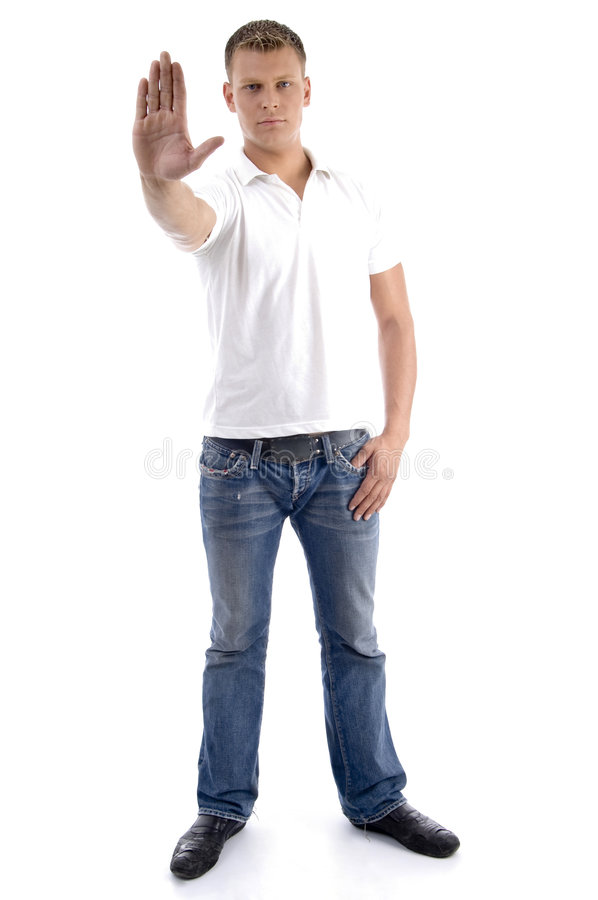 Download Male Gesturing Stop With His Hand Stock Image - Image: 6985571