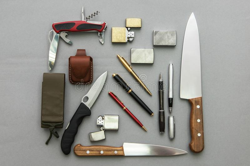 Male gifts on a gray royalty free stock photo