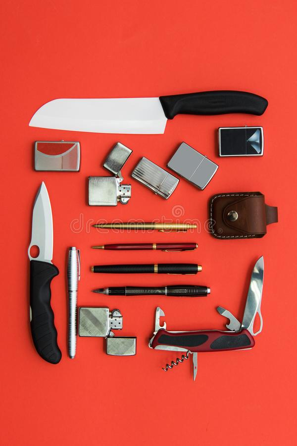 Male gifts on a orange stock image