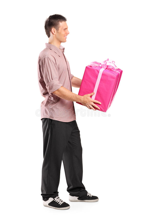 Download Male giving a large gift stock image. Image of packet - 20721529
