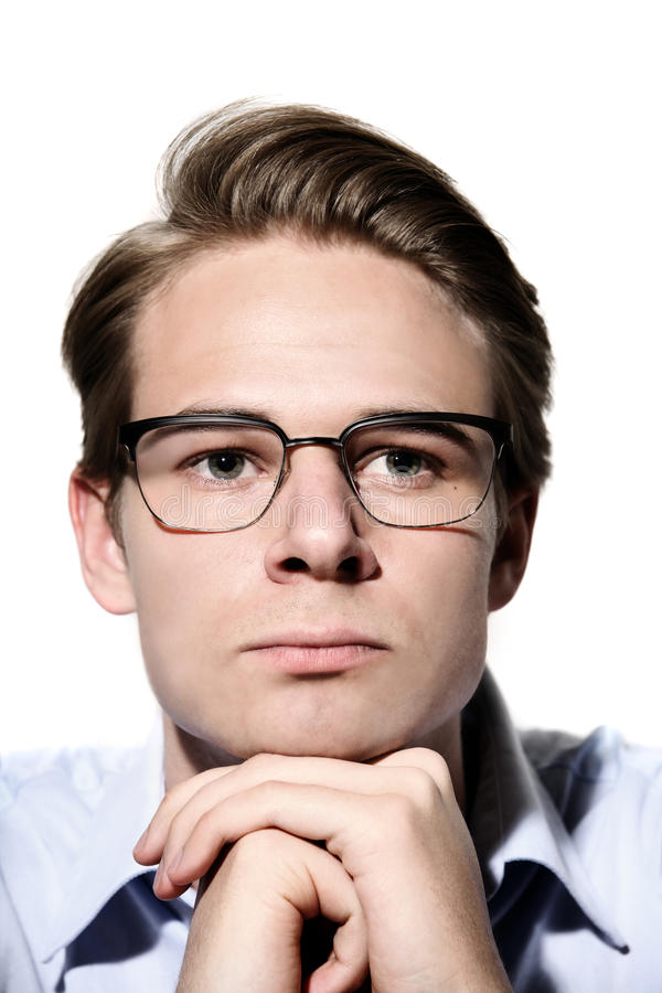 Male with glasses on stock image