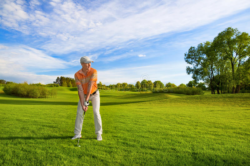 Male golf player royalty free stock image