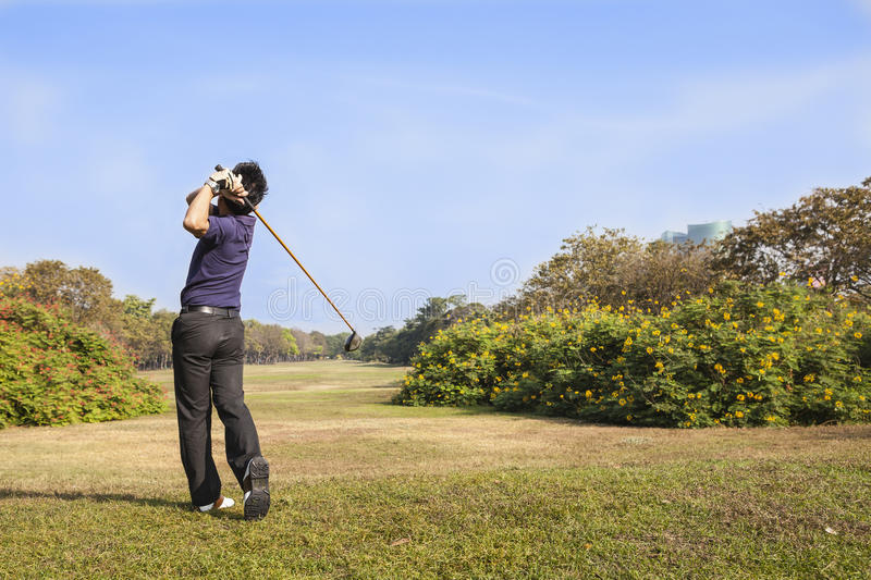 Male golf player teeing off golf ball from tee box stock image