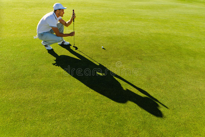 Male golfer check line for putting golf ball stock photography