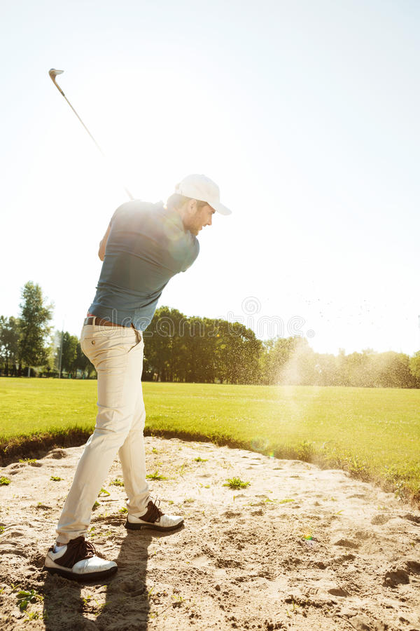 Male golfer hitting ball out of a sand trap royalty free stock images