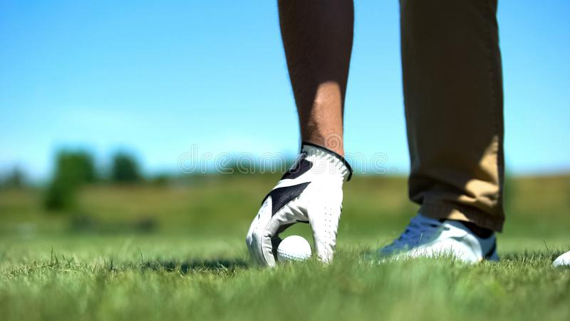 Male golfer teeing off golf ball before swing, professional and luxury sport royalty free stock photography