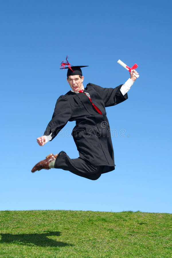 Download Male Graduate Jumping For Joy Stock Photo - Image of enthusiasm, grass: 2262158