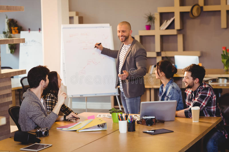 Male graphic designer discussing chart on white board with coworkers stock images
