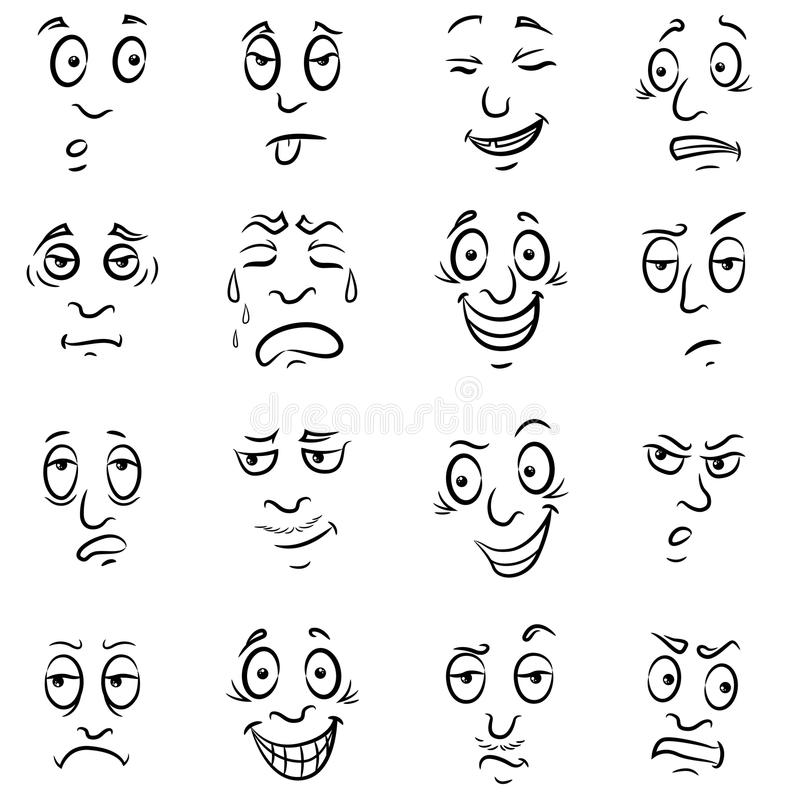 Male grimaces set. Set of sixteen funny male grimaces, sketching cartoon vector outlines isolated on the white background stock illustration